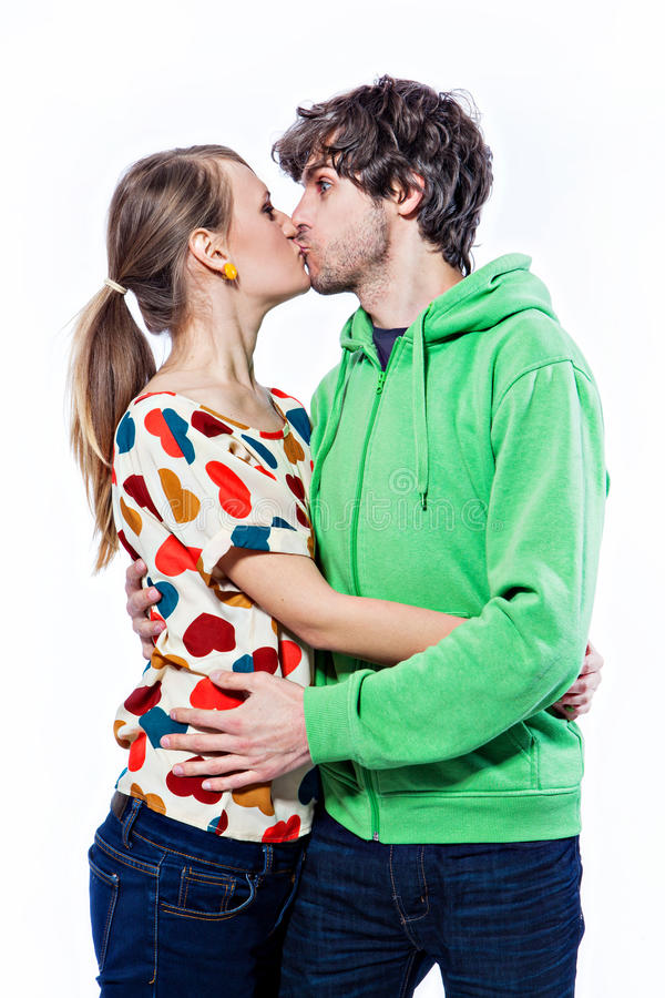 Download Couple kissing stock photo. Image of isolated, woman - 28563276