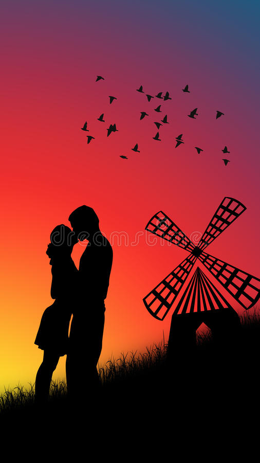 Couple kissing. In the sunset stock illustration