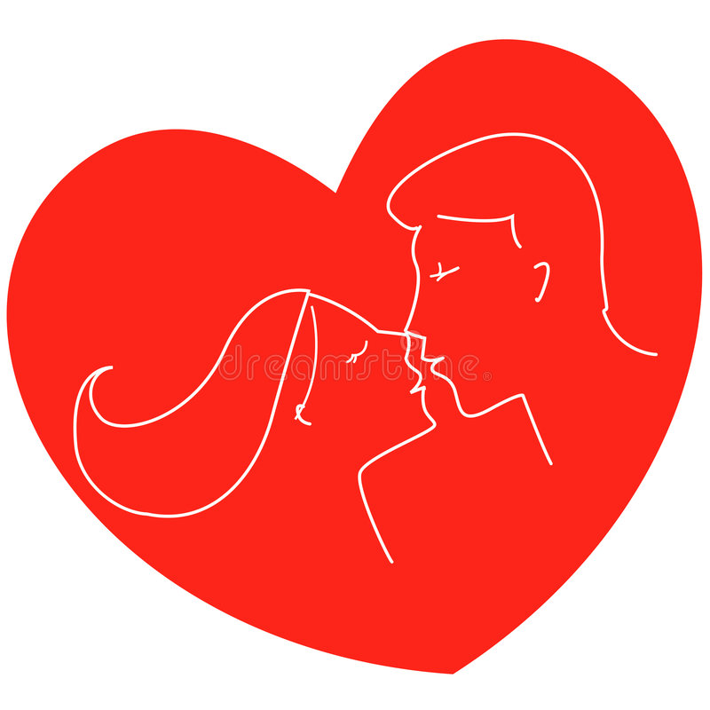 Couple kissing. Young couple kissing inside a heart illustration stock illustration