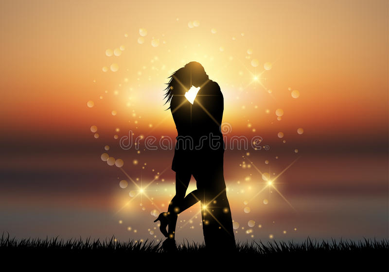 Couple kissing against a sunset background. Silhouette of a couple kissing against a sunset sky vector illustration