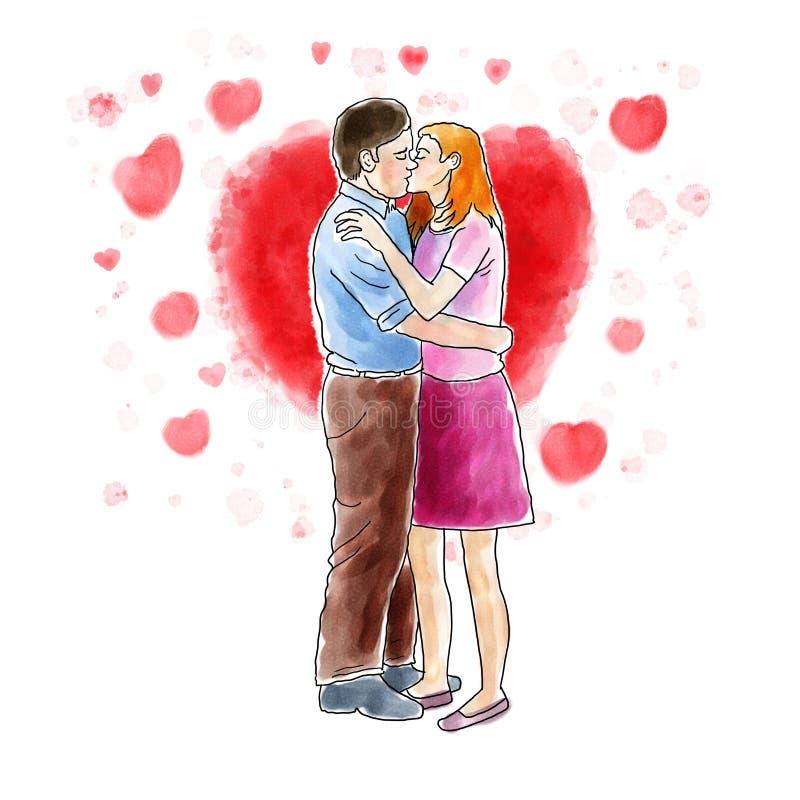 Couple kissing. Digital watercolor illustration of a couple kissing royalty free illustration
