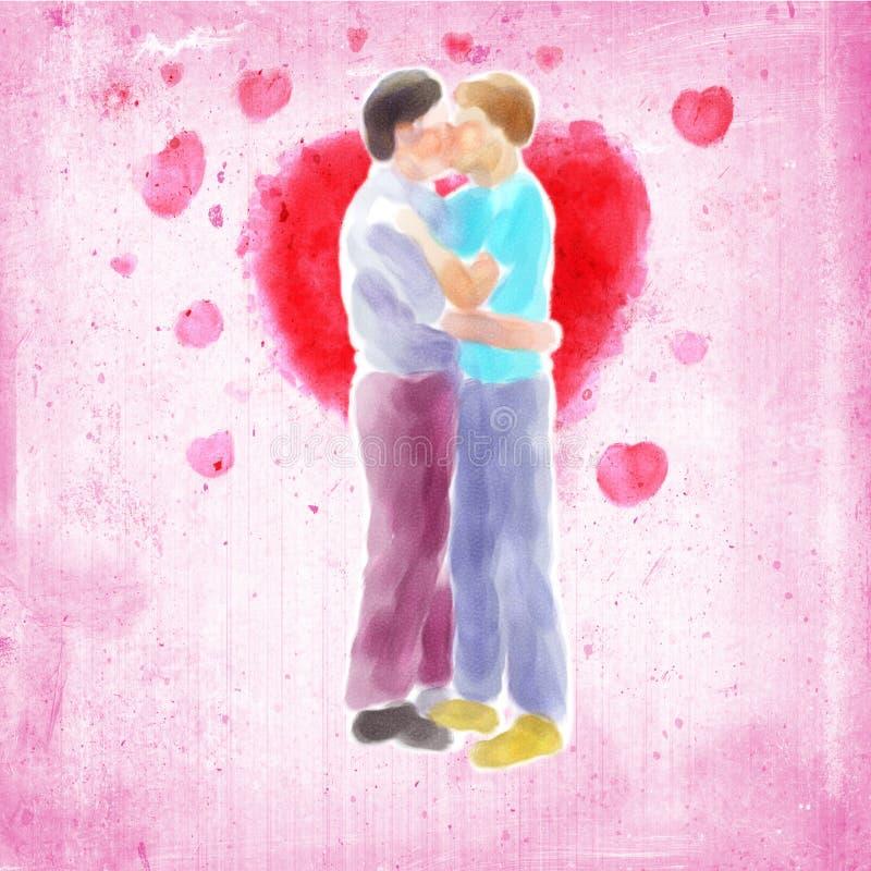 Couple kissing. Digital watercolor illustration of a couple kissing stock illustration