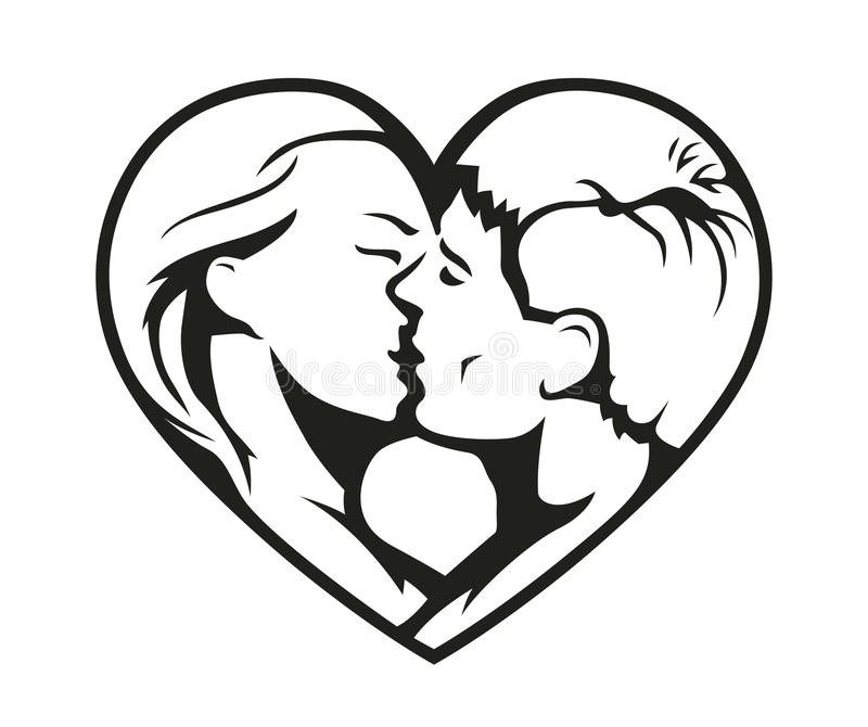 Download Couple Kissing In The Heart Symbol Stock Illustration - Image: 42183749