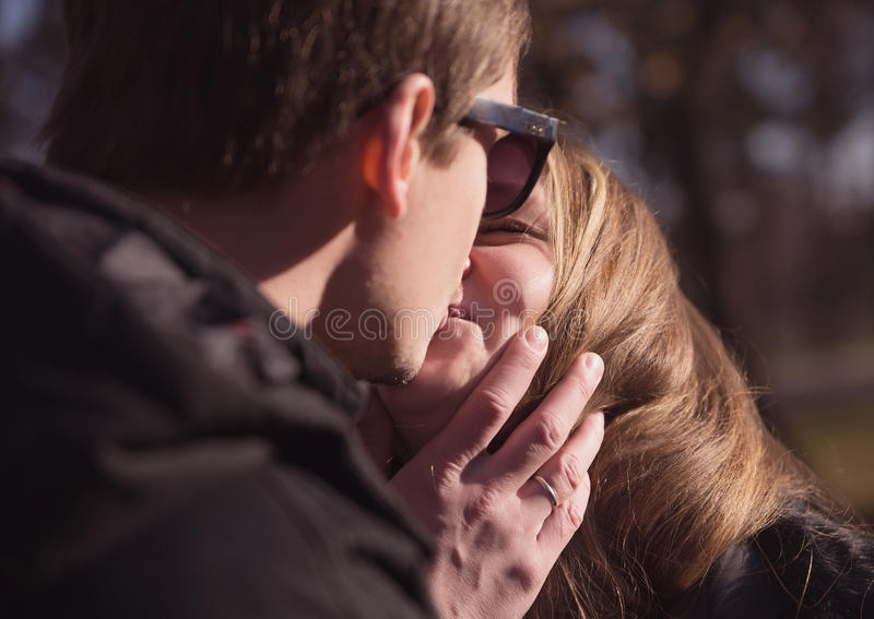 Couple kissing on the nature royalty free stock photography