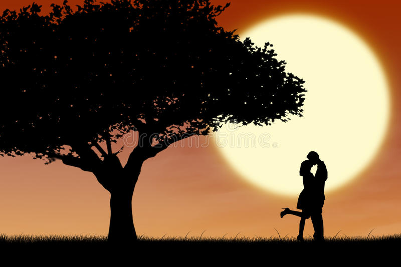 Couple kissing by orange silhouette and tree. Silhouette of couple kissing near a tree on orange sunset background vector illustration