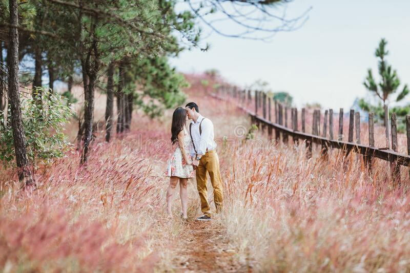 Couple kissing on path royalty free stock photo