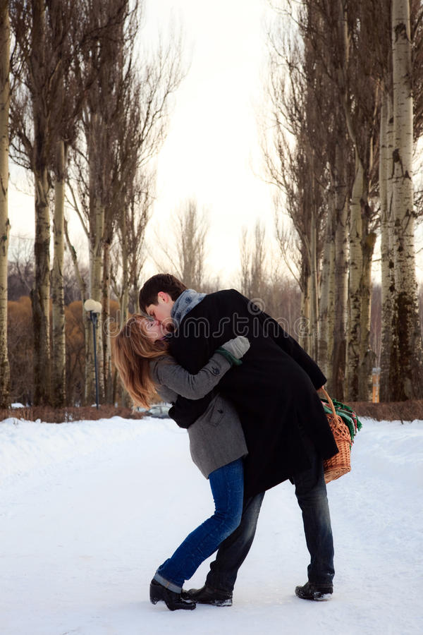 Download Couple Kissing In The Poplar Alley Royalty Free Stock Photo - Image: 16530205