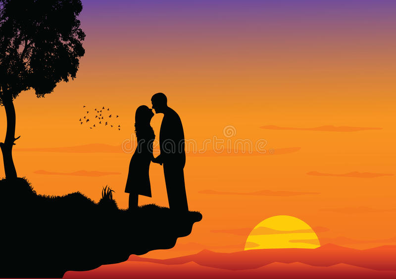 Couple kissing on sunset. High detail illustration of couple kissing. Additional format Eps8 (very easy editable separate layers stock illustration