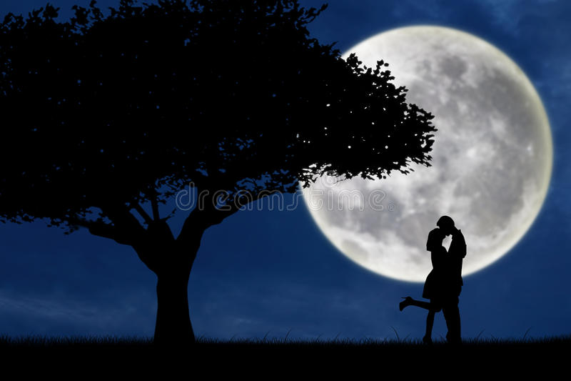 Couple kissing by a tree on blue full moon silhouette vector illustration