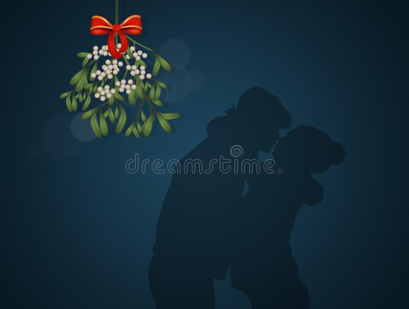 Couple kissing under the mistletoe for the New Year royalty free illustration