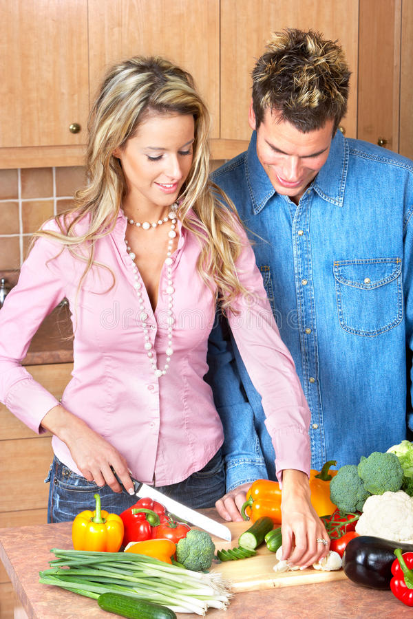 Download Couple at kitchen stock image. Image of care, background - 12365551