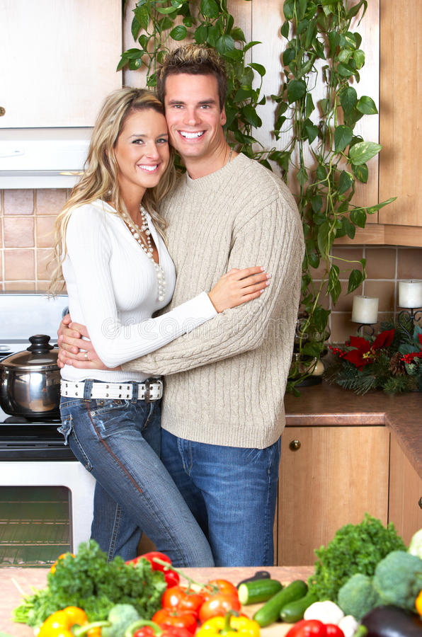 Download Couple At Kitchen Stock Images - Image: 12490454