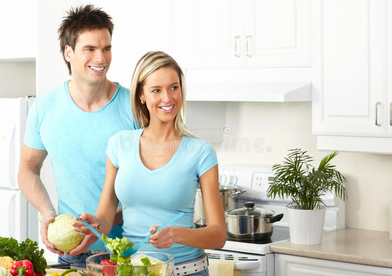 Download Couple at kitchen stock photo. Image of male, love, fruit - 12824780