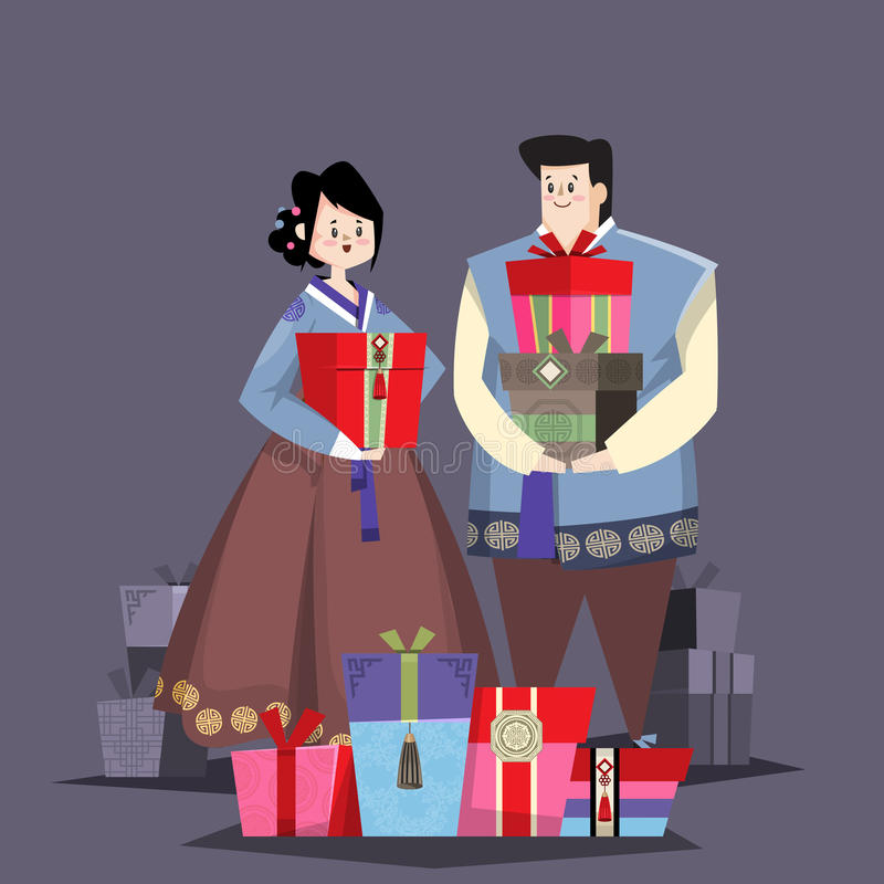 Couple in Korean traditional costume with holiday gifts vector illustration