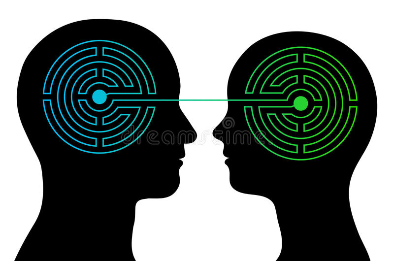 Couple with labyrinth brains communicate vector illustration