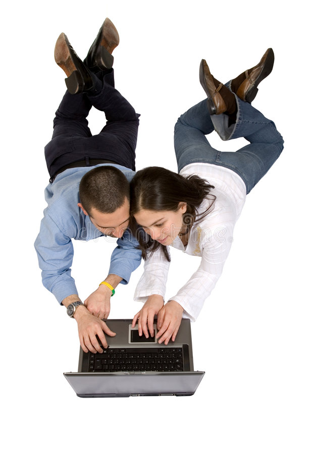 Download Couple on a laptop stock image. Image of floor, couple - 1417187