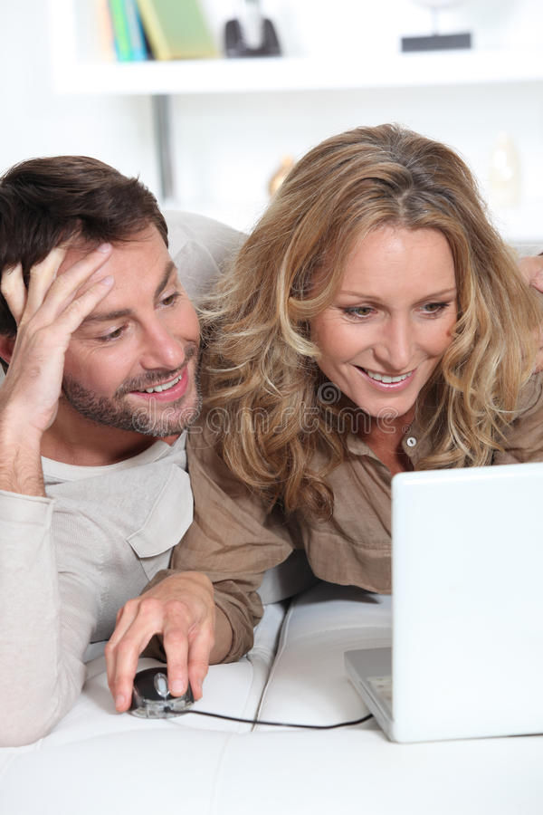 Download Couple on laptop. stock image. Image of white, view, dark - 23022999