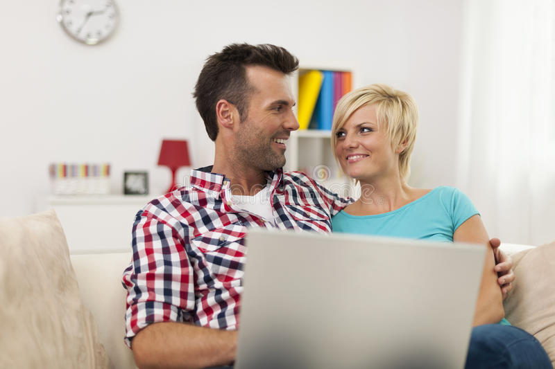 Download Couple with laptop stock image. Image of relationship - 37801143