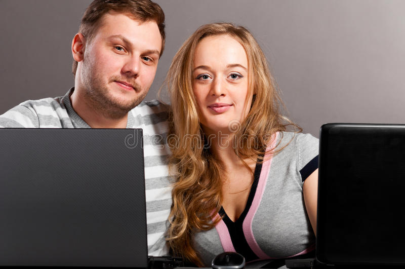 Download Couple with laptops stock photo. Image of closeup, mouse - 19537220