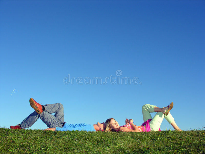 Download Couple lie on blue sky stock image. Image of sunny, happiness - 300521