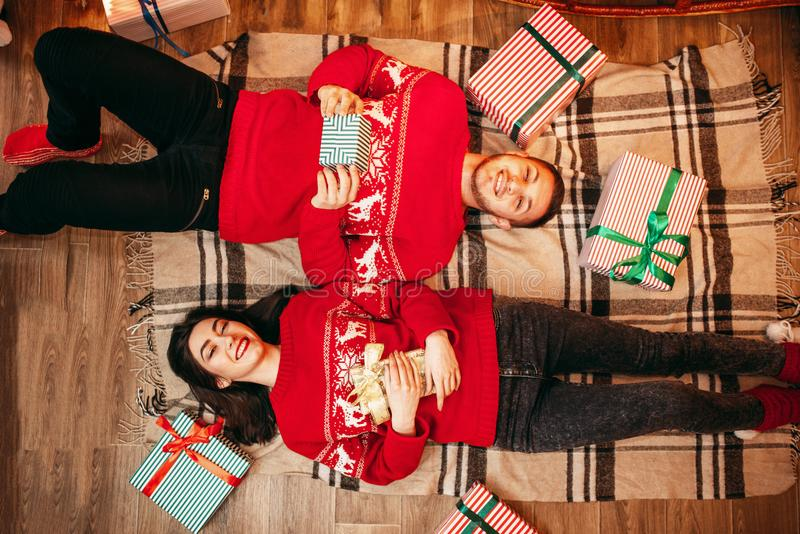 Download Couple Lies On The Floor, Top View, Christmas Stock Image - Image of background, christmas: 110744161