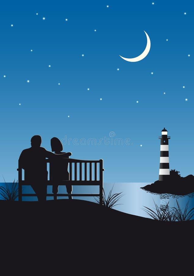 Couple an Lighthouse stock illustration