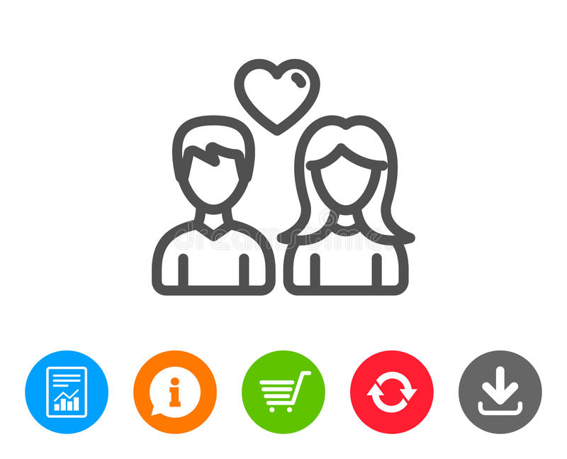 Couple line icon. Users with Heart sign. stock illustration
