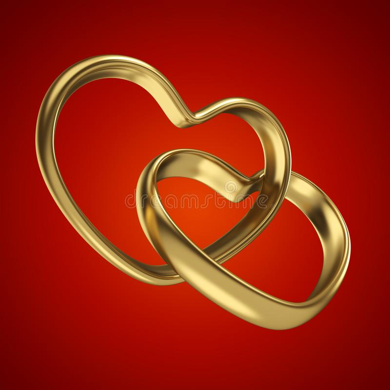 Couple of linked gold wedding rings on red background stock illustration