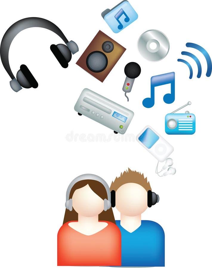 Couple listen to music royalty free illustration