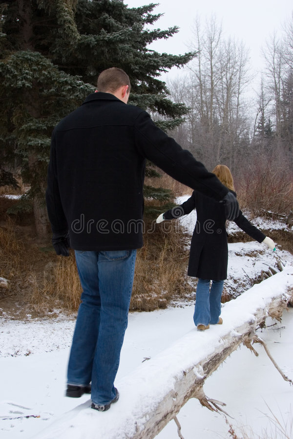 Download Couple on a Log stock image. Image of walk, chilly, beautiful - 452015