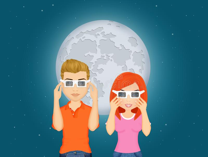 Couple look the eclipse vector illustration