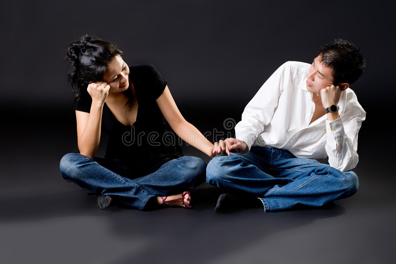 Couple looking at each other deeply in love stock photo