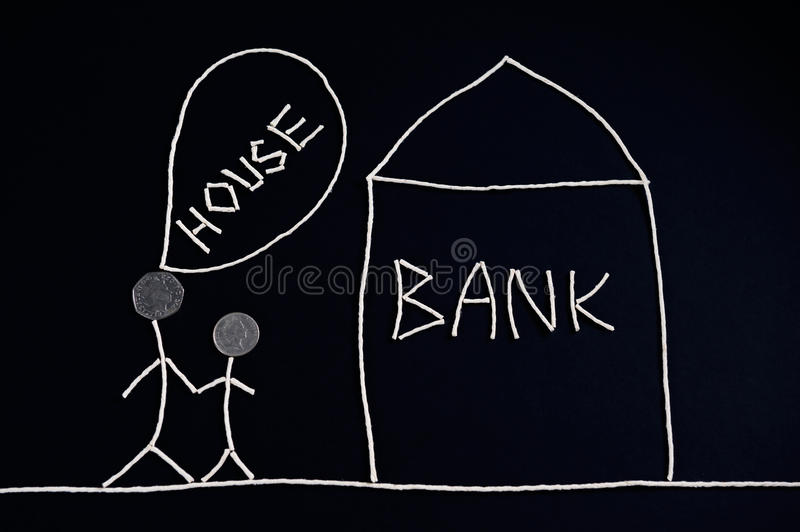 Couple looking for financial help, mortgage, going to bank, money concept, unusual. royalty free stock image