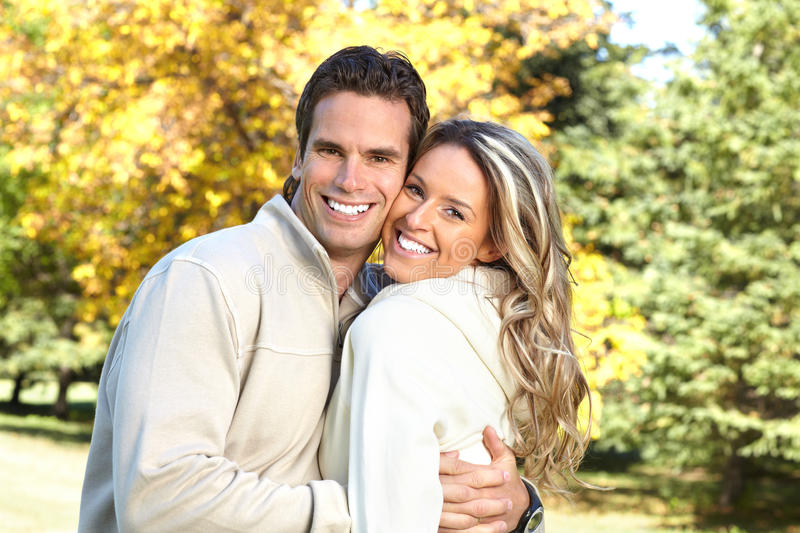 Couple in love. Young happy smiling couple in love stock photo