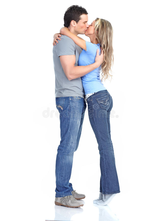 Couple in love. Happy smiling couple in love. Over white background stock photo