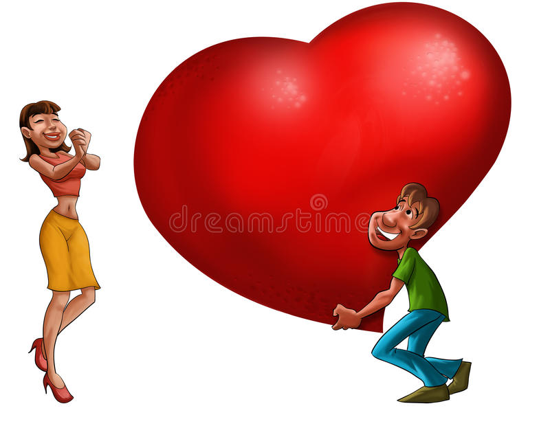 Couple in love. Happy couple date in the valentine day stock illustration