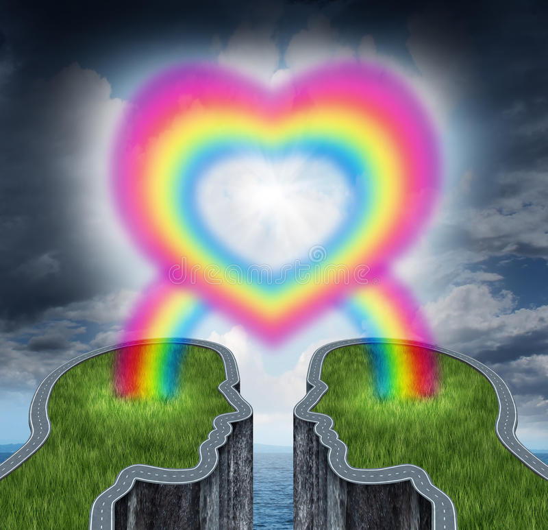 Couple In Love. With two islands shaped as human heads coming together connected with a rainbow shaped as a love heart as a romantic symbol of a happy vector illustration