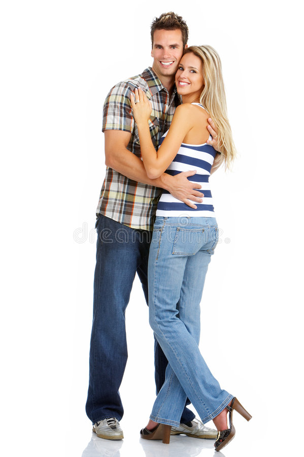Couple in love. Young love couple smiling. Over white background stock photography