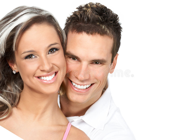 Couple in love. Smiling. Over white background