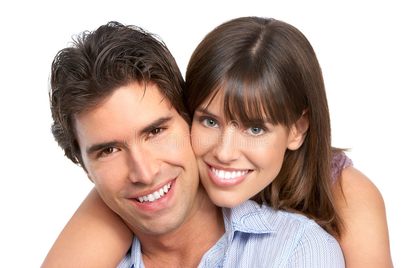 Couple in love. Happy smiling couple in love. Over white background