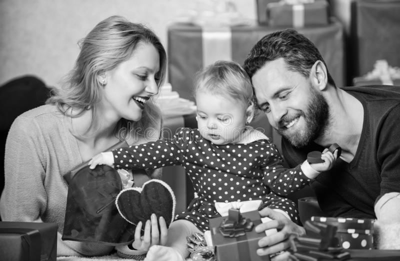 Couple in love and baby girl. Valentines day concept. Together on valentines day. Lovely family celebrating valentines royalty free stock images