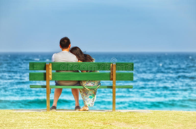 Couple in love at the beach stock photo