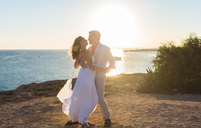 Couple Love Beach Romance Togetherness Concept stock image