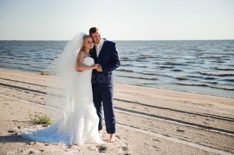 Couple in love on the beach on their wedding day. royalty free stock images