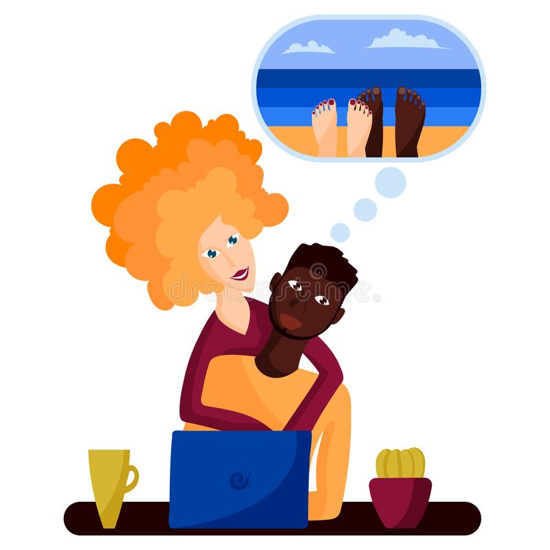 A couple in love a black man and a white girl buy tickets to the sea on the Internet or choose a resort royalty free illustration