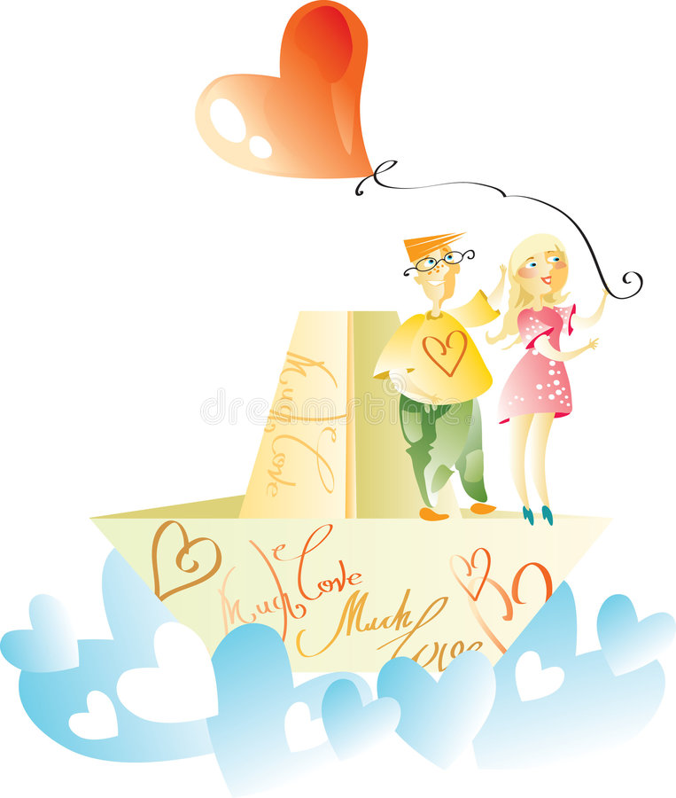 Couple on love boat. Illustration of couple on love boat sailing on sea of hearts with heart shaped red balloon floating overhead, isolated on white background stock illustration