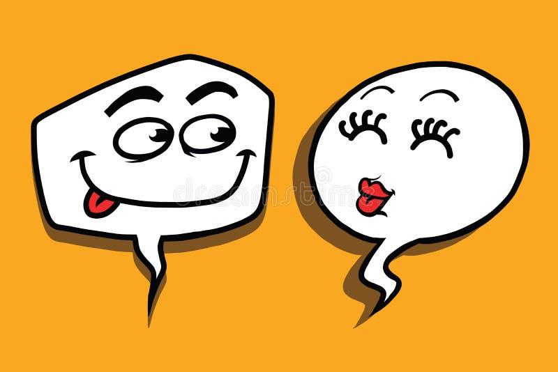 Couple love cartoon bubble face man woman. Pop art comic vector illustration. Kiss and Casanova vector illustration