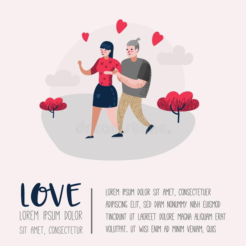 Couple in Love Characters for Poster, Banner. Valentines Day Doodle with Hearts and Romantic Elements. Love and Romance. Concept. Vector illustration royalty free illustration