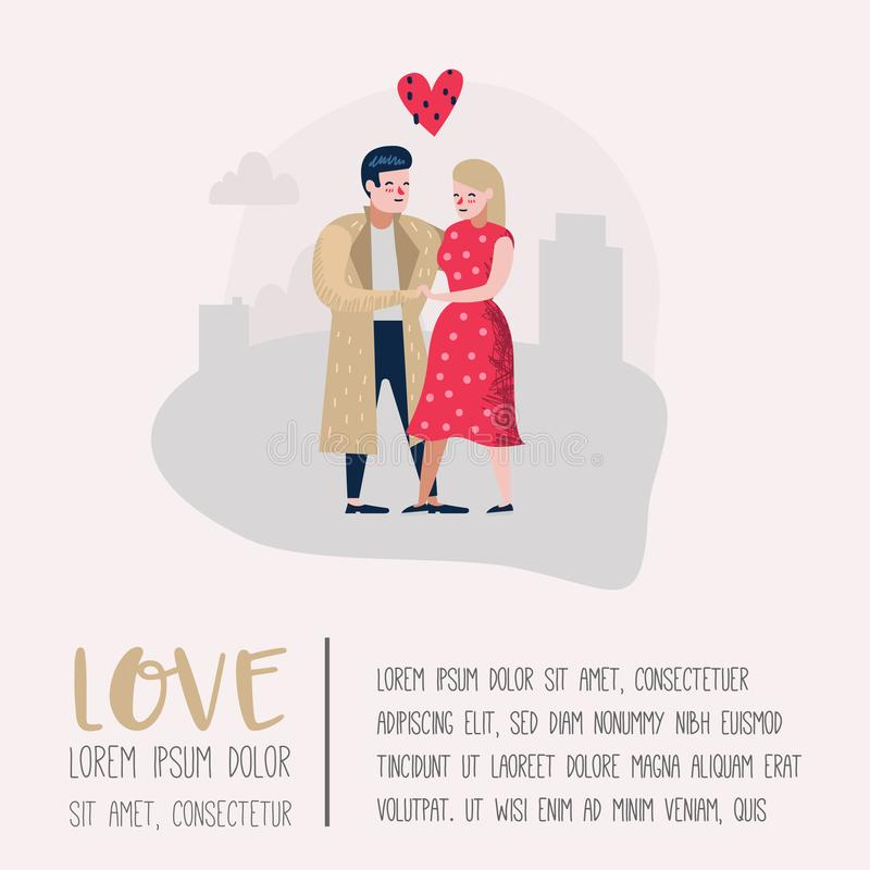 Couple in Love Characters for Poster, Banner. Valentines Day Doodle with Hearts and Romantic Elements. Love and Romance. Concept. Vector illustration vector illustration