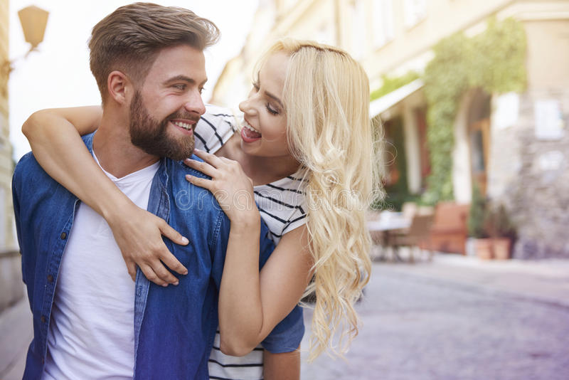 Couple in love at the city stock photo